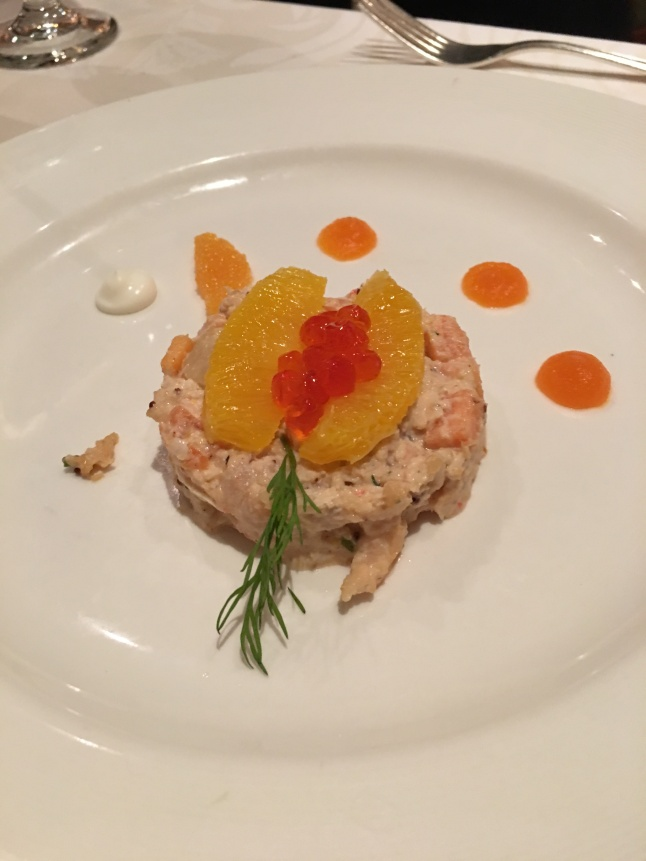 Tile of crab, scallop, shrimp