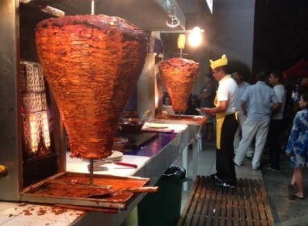 Tacos de Trompo in the streets of Mexico