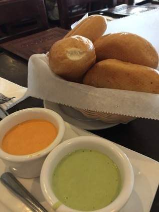 Bread and Peruvian sauces