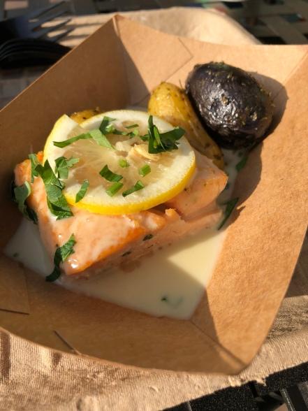 Salmon with purple potato